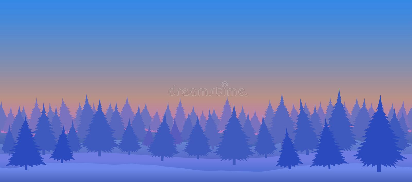Daytime winter forest. Seamless illustration. Daytime winter forest includes formats: EPS, JPG vector illustration