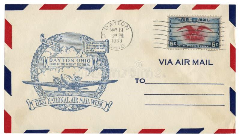 Dayton, Огайо, США - 19-ОЕ МАЯ 1938: Конверт США исторический: предусматрива с домом печати братьев Wright, первых национальных м стоковые изображения