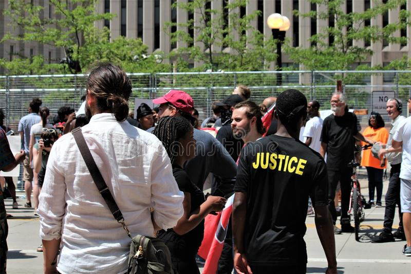 Dayton, OH / United States - May 25 2019: 600 protestors rally against a reported 9 KKK members. Dayton, OH / United States - May 25 2019: 600 protestors stock photography
