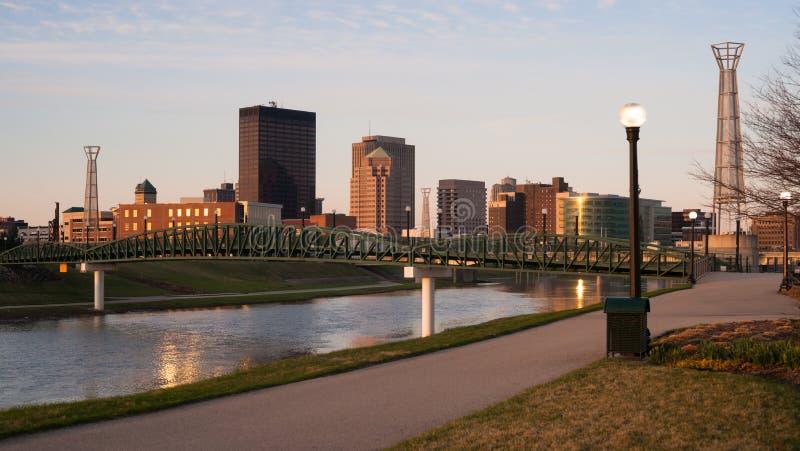 Dayton Ohio Downtown City Skyline Great Miami River. The Miami River travels along passing through Dayton Ohio royalty free stock image