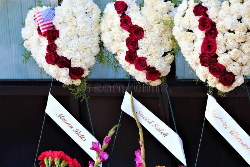 Dayton, Ohio/Estados Unidos - 7 de agosto de 2019: Um memorial para as vítimas do distrito de Oregon imagens de stock royalty free