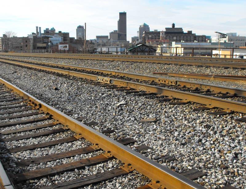 Dayton, Ohio. Railroad tracks and downtown Dayton, Ohio stock image