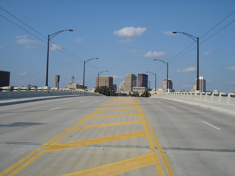 Dayton, Ohio Skyline from Across the Bridge. Skyline of Dayton, Ohio from across the bridge stock images