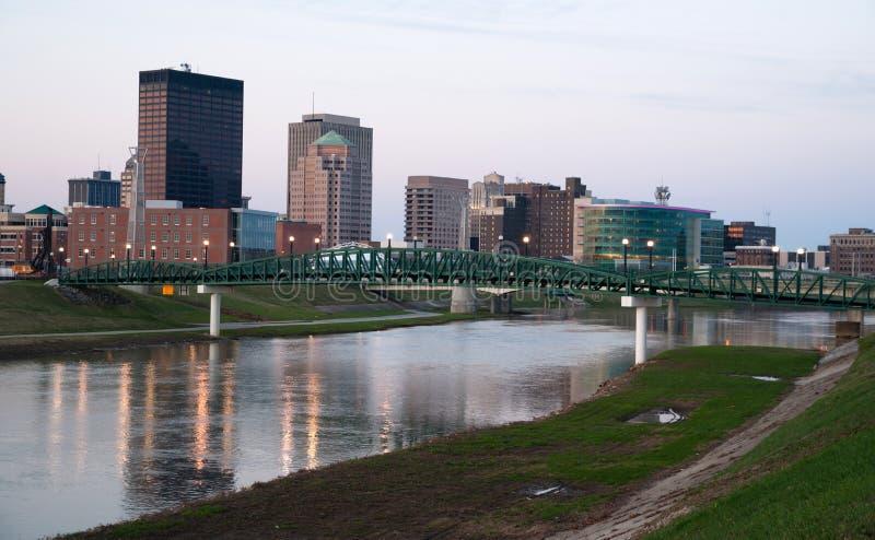 Dayton Ohio Waterfront Downtown City Skyline Miami River. Sunrise comes to the Miami River flowing through Dayton Ohio stock photography