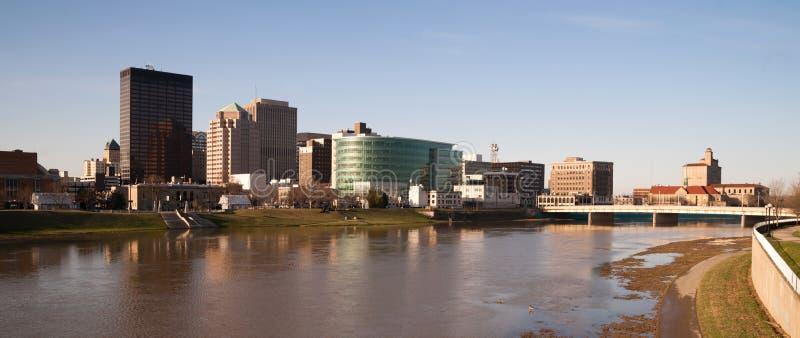Dayton Ohio Waterfront Downtown City Skyline Miami River. Sunrise comes to the Miami River flowing through Dayton Ohio royalty free stock photo
