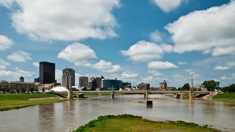Dayton Riverscape Scene 2. A look at the point where 2 rivers merge as they enter the downtown Riverscape area in Dayton, Ohio stock photography