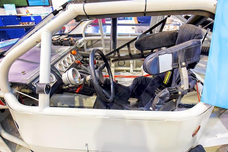 Daytona国际赛车场显示Nascar赛车内部 库存照片