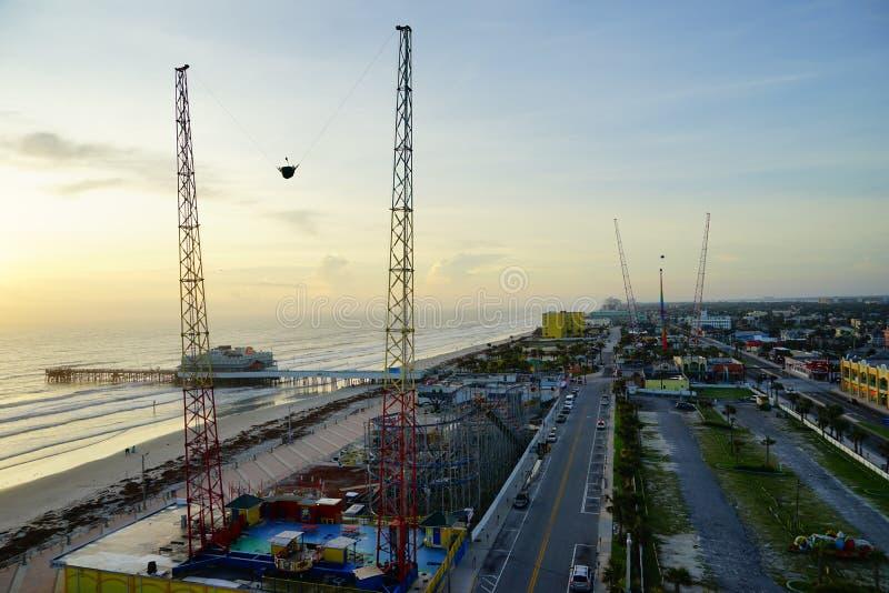 Daytona海滩太阳上升 免版税库存照片