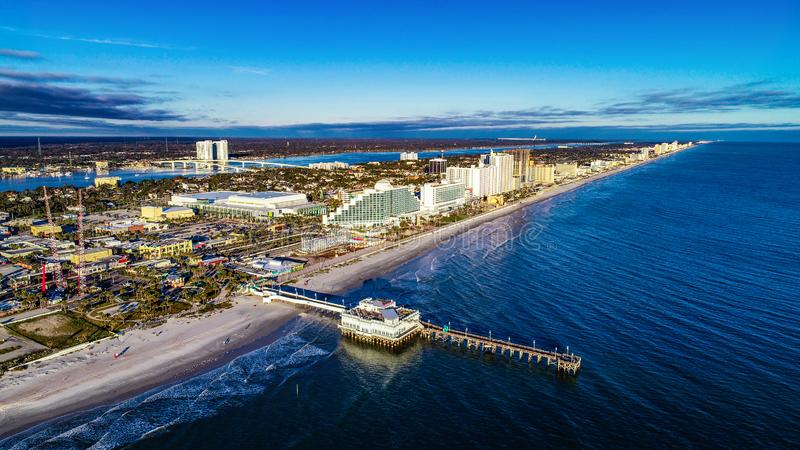 Daytona海滩,佛罗里达FL鸟瞰图  免版税库存照片