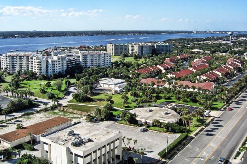 Daytona海滩岸鸟瞰图,佛罗里达 图库摄影