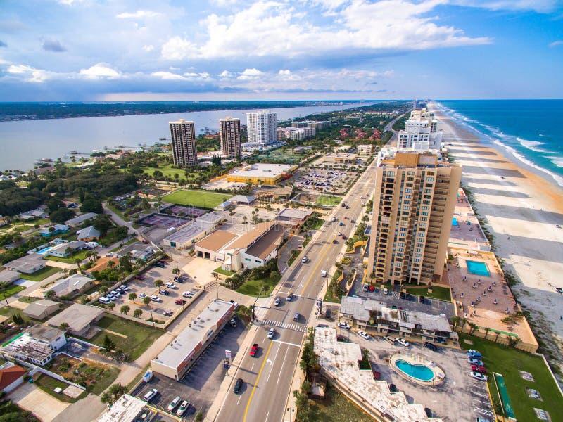 Daytona海滩市鸟瞰图  免版税库存照片