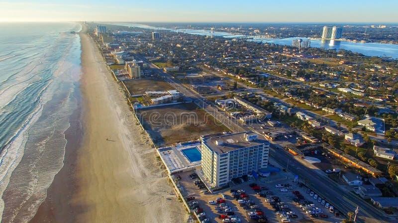 Daytona海滩,佛罗里达鸟瞰图  库存照片