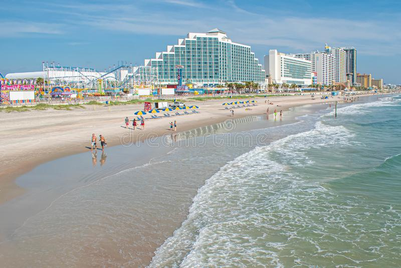 Panoramic view of Hilton Ocean Front and boardwalk on Daytona Beach 1. Daytona Beach, Florida. July 06, 2019 Panoramic view of Hilton Ocean Front and boardwalk royalty free stock images