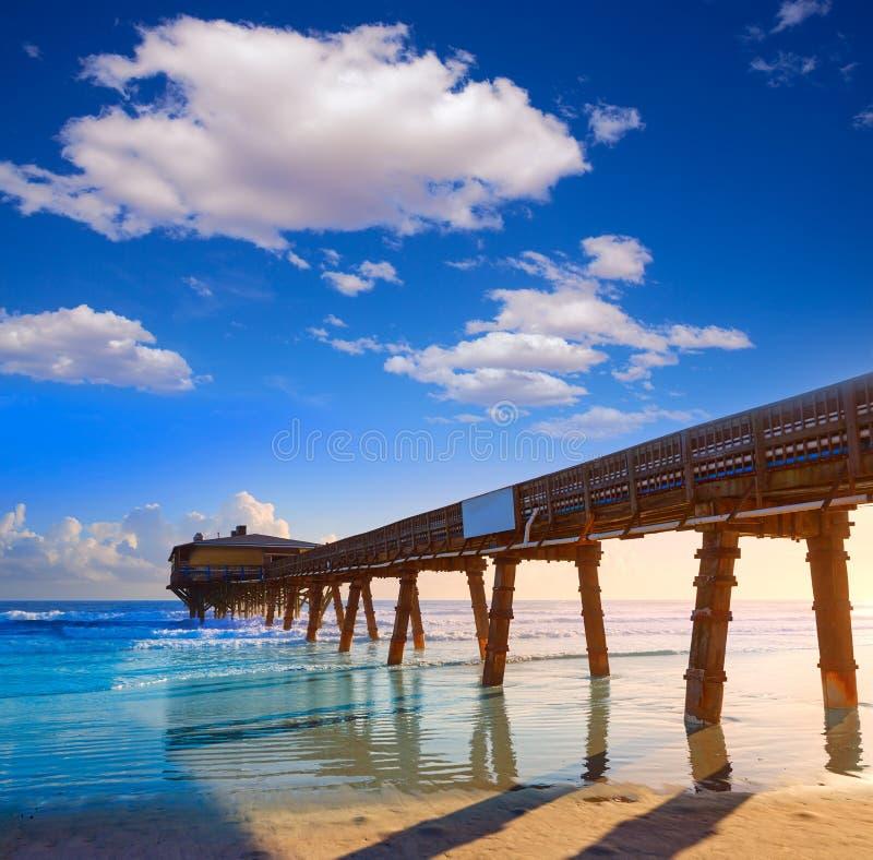Daytona Beach in Florida met pijler de V.S. stock fotografie