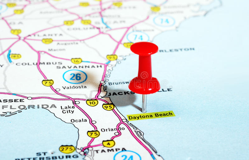 Daytona Beach Florida USA map. Close up of Daytona Beach Florida USA map with red pin - Travel concept royalty free stock photography
