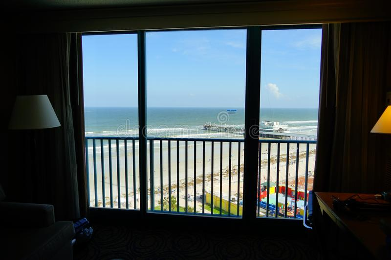 Daytona Beach pier seen from hotel room. In Florida, USA stock photography
