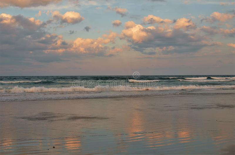Daytona Beach Sunset Reflections royalty free stock photo