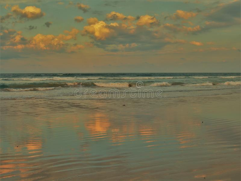 Daytona Beach Sunset Reflections stock image