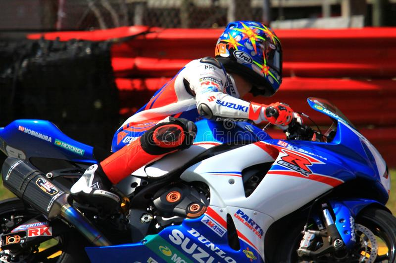 Daytona Sport Bike race. Blake Young races the Suzuki GSX-R1000 for Yoshimura Racing at the pro motorsports racing motorcycle event royalty free stock photography