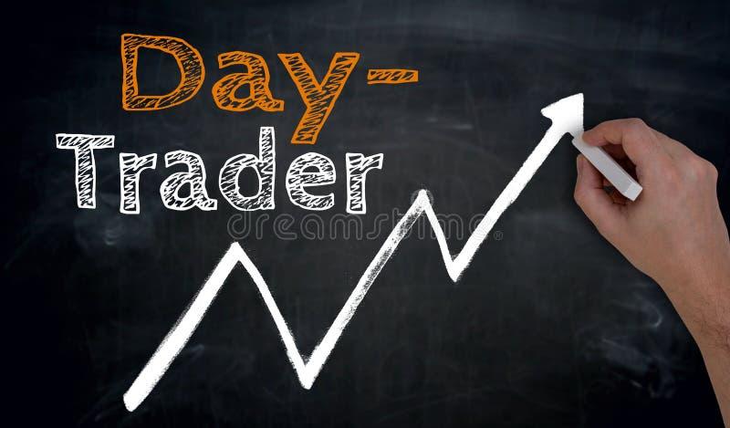 Daytrader在黑板用手被写 免版税库存图片