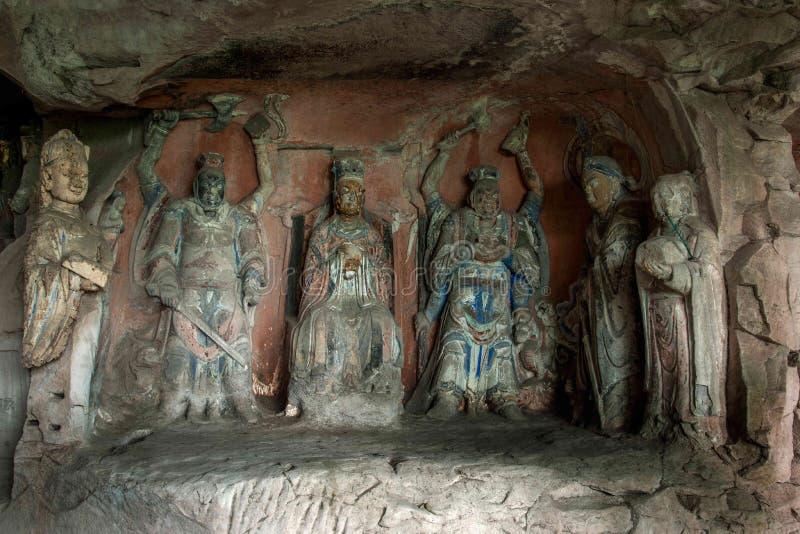 Dazu-Felsritzungen in Chongqing Shu diagenetic Cliff Ziwei Great Shrine stockfoto
