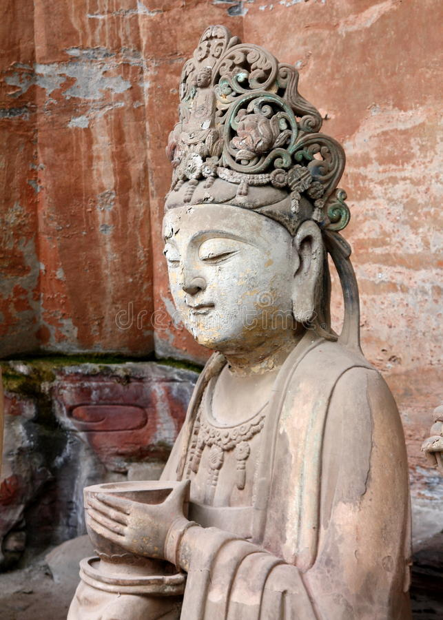 Dazu Rock Carvings. The carving is in Baodingshan, important part of Dazu rock carvings. They are in the list of world cultural heritage stock image