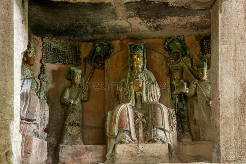 Dazu Rock Carvings in Chongqing Cliff Dongyuetaidi comfortable niche diagenetic. 1.64 meters tall niches, 2.04 meters wide, 1.56 meters deep. Are central wall royalty free stock images
