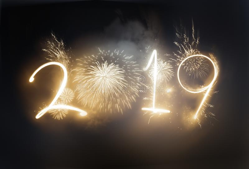 Dazzling Gold 2019 New Year Firework Celebrations royalty free stock photos