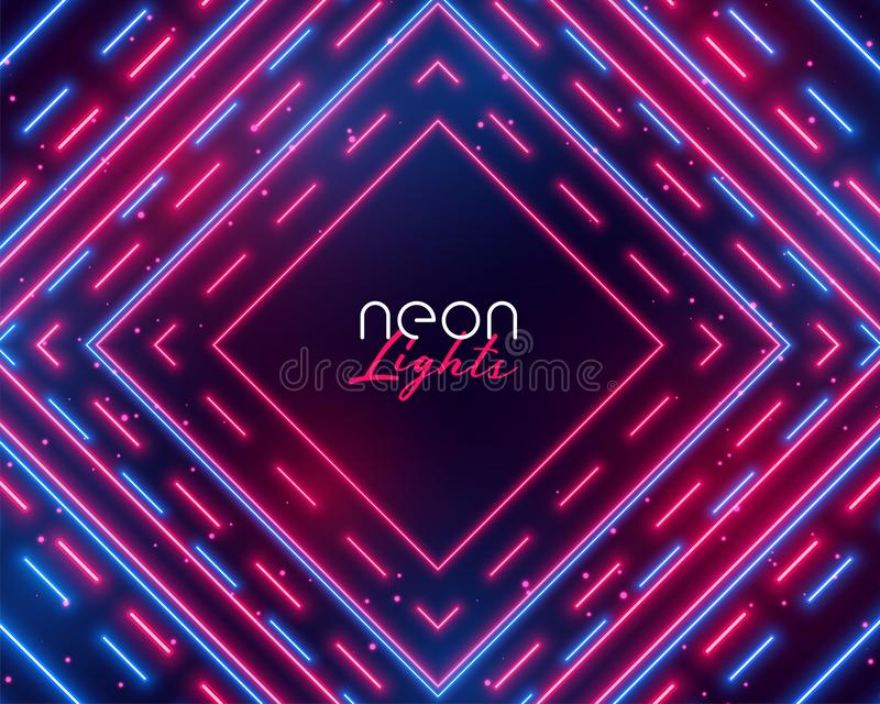 Dazzling neon lights abstract background in blue and red shades vector illustration