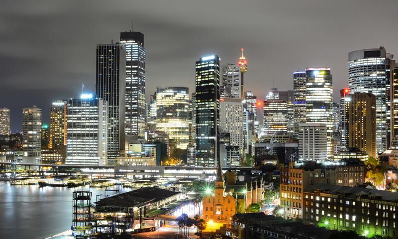 Dazzling night cityscape view of the Sydney central business district skyline and Circular Quay stock photos