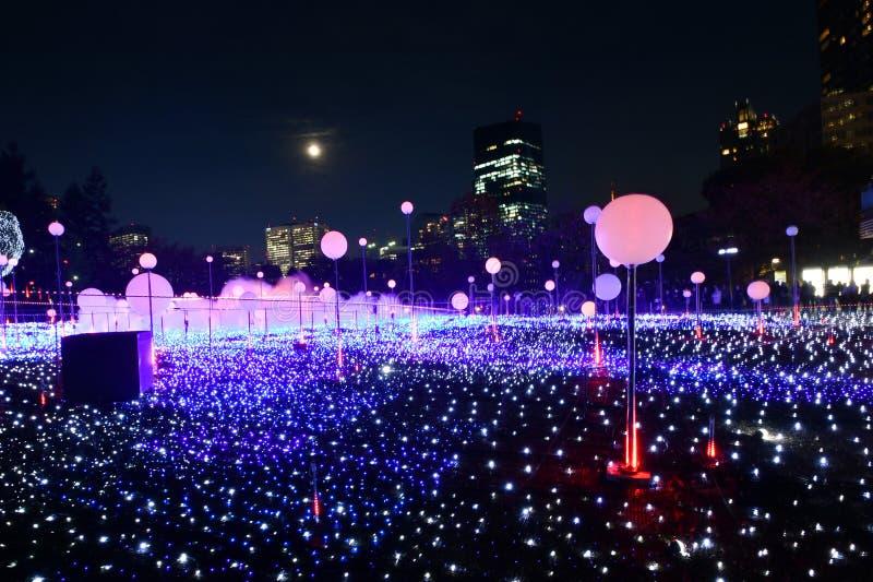Tokyo Midtown Christmas Illumination 2018. The dazzling Starlight Garden of Tokyo Midtown Christmas Illumination 2018 royalty free stock photography