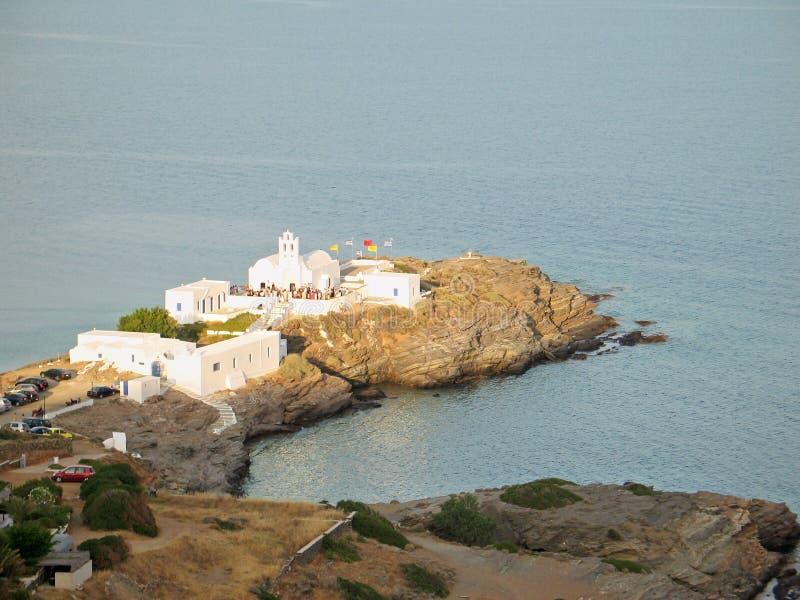 Dazzling-White Church Against the Aegean Deep-Blue stock photos