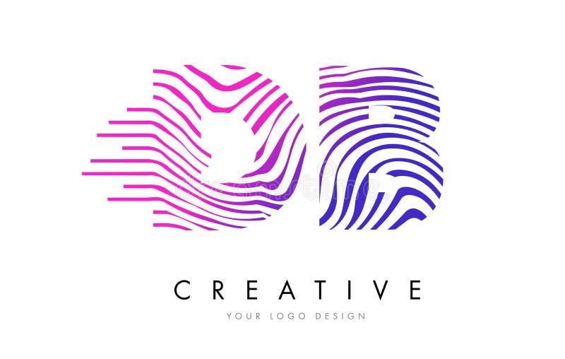 DB D B Zebra Lines Letter Logo Design with Magenta Colors royalty free illustration