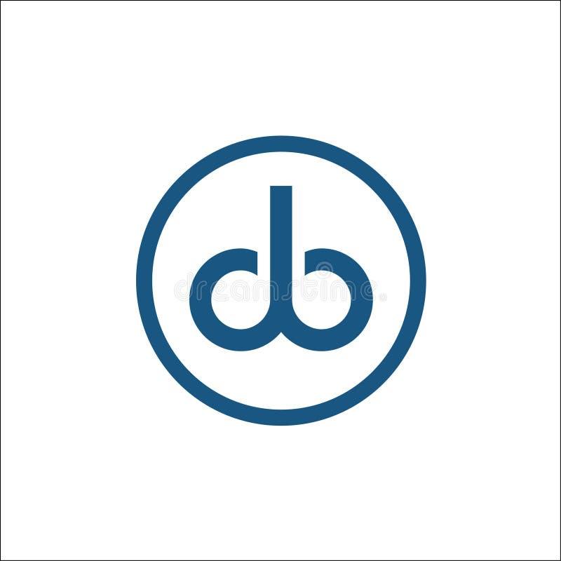 DB da letra em um monograma do molde do vetor do logotipo do círculo ilustração stock