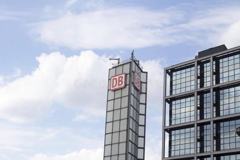 DB. The logo of the brand `Deutsche Bahn` DB on a tower at Berlin Main Station German Hauptbahnhof on Aug 13 2016 in Berlin, Germany royalty free stock photo