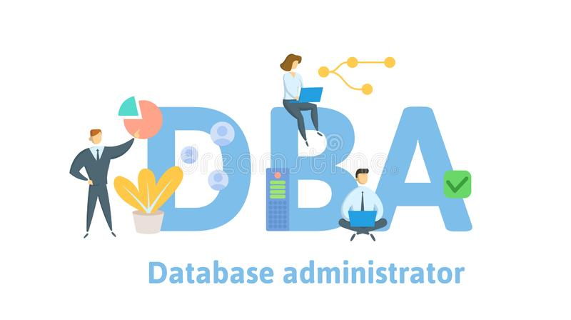 DBA, Database Administrator. Concept with people, letters and icons. Flat vector illustration. Isolated on white stock illustration