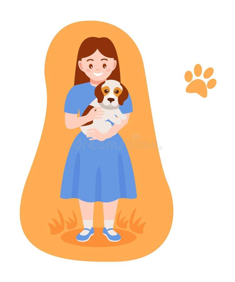 Dbający dla szczeniaka, zwierzę domowe Dziewczyn uściśnięć zwierzę domowe, dba dla on ilustracji