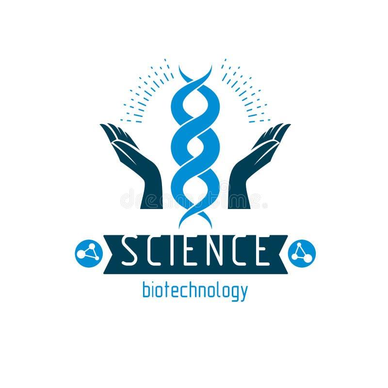 Dbający rękę trzyma modela istoty ludzkiej DNA Bioengineering jako di ilustracji