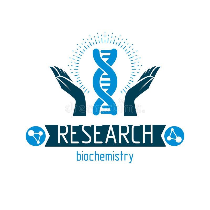 Dbający rękę trzyma modela istoty ludzkiej DNA Bioengineering jako di ilustracja wektor