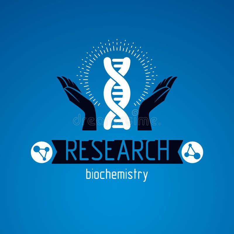 Dbaj?cy r?k? trzyma modela istoty ludzkiej DNA Bioengineering jako kierunek genetyka, abstrakcjonistyczny wektorowy naukowy symbo ilustracja wektor