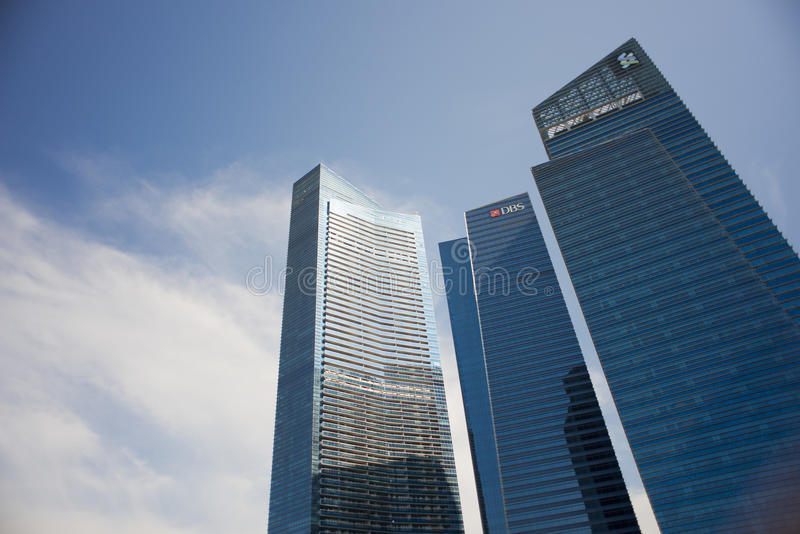DBS and Standard Chartered Building at Marina Bay Financial Center. The Marina Bay Financial Centre is a mixed-use development located along Marina Boulevard and royalty free stock image