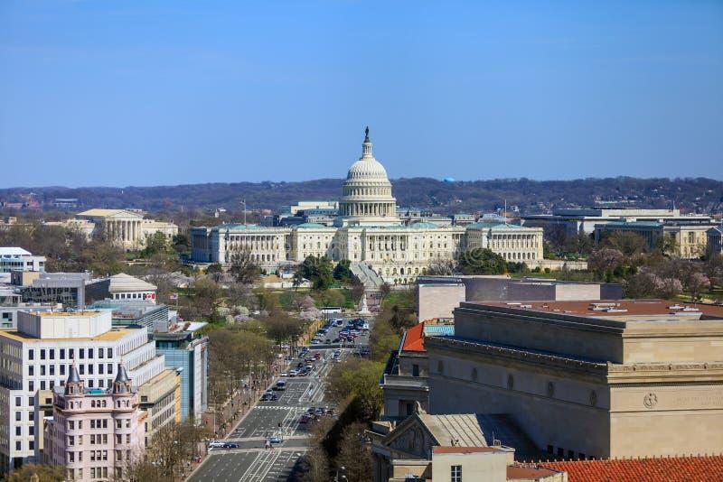 DC Вашингтона, горизонт с зданием капитолия и другой федеральный b стоковая фотография