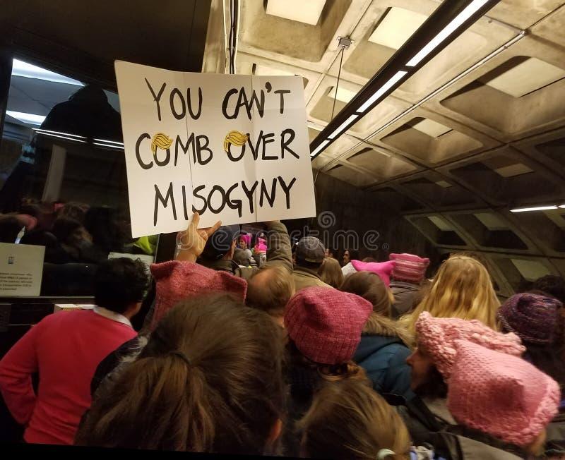 DC ВАШИНГТОНА - 21-ОЕ ЯНВАРЯ 2017: ` S март женщин на Вашингтоне стоковые фотографии rf