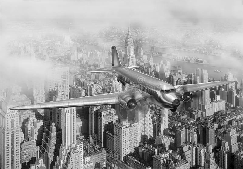 DC-3 Over NYC. Vintage image of a Douglas DC-3 over New York City royalty free illustration