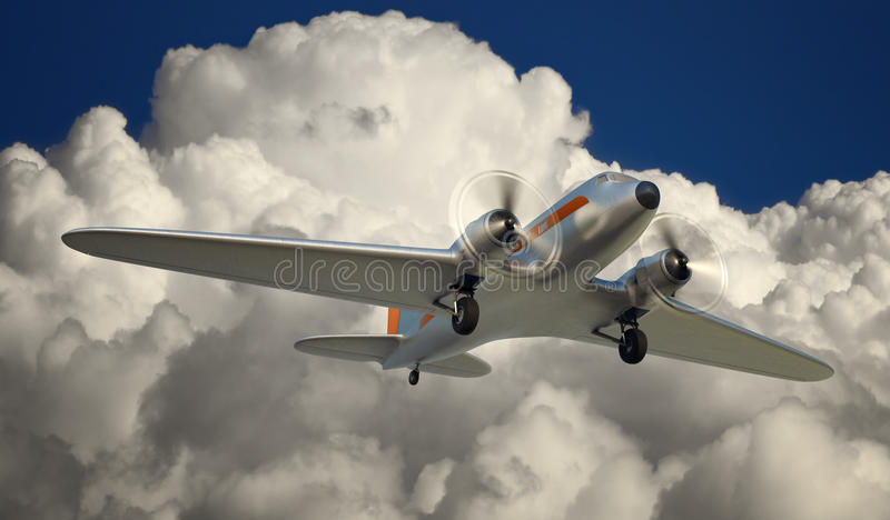 DC-3 Over NYC stock illustration