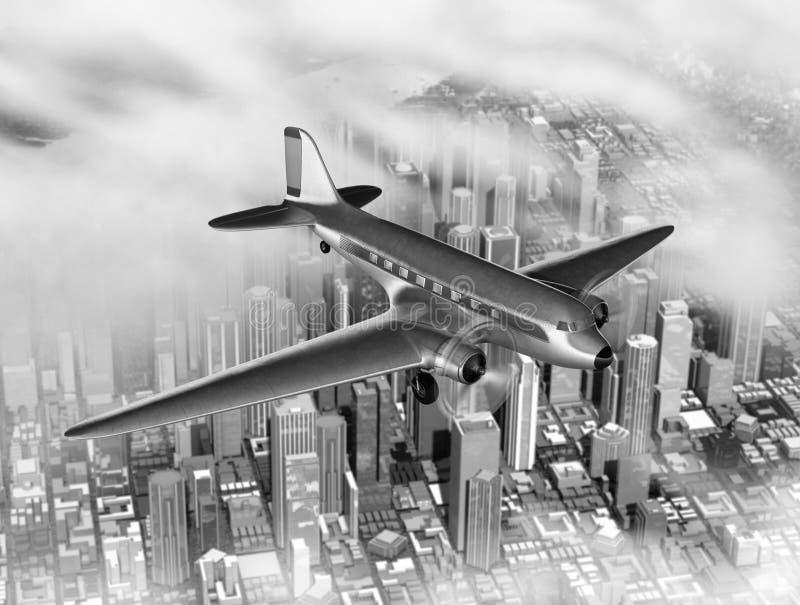 DC-3 sobre ciudad libre illustration