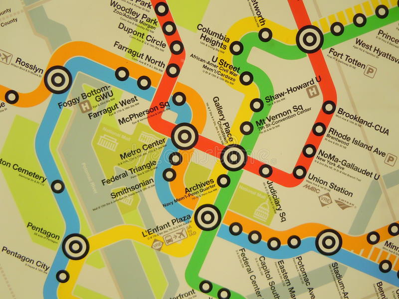 Map of metro routes. The Washington DC Metro route map royalty free stock photo