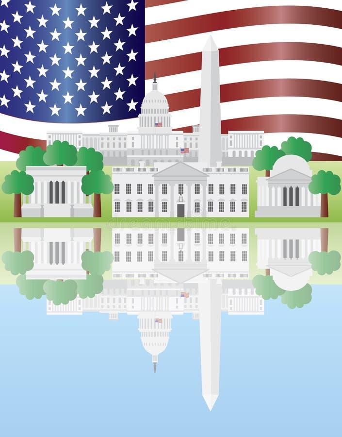 dc chorągwiany punkt zwrotny odbicie my Washington ilustracji