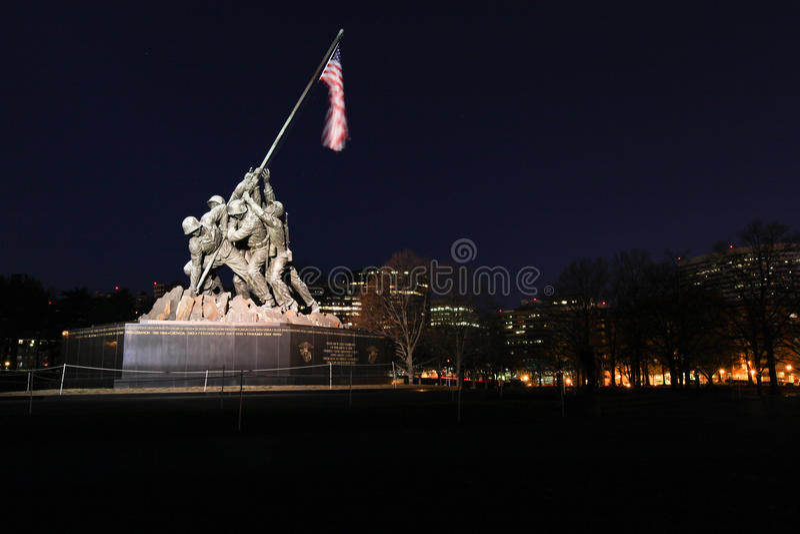 dc iluminujący iwo jima morski pomnik my wojenni obrazy stock