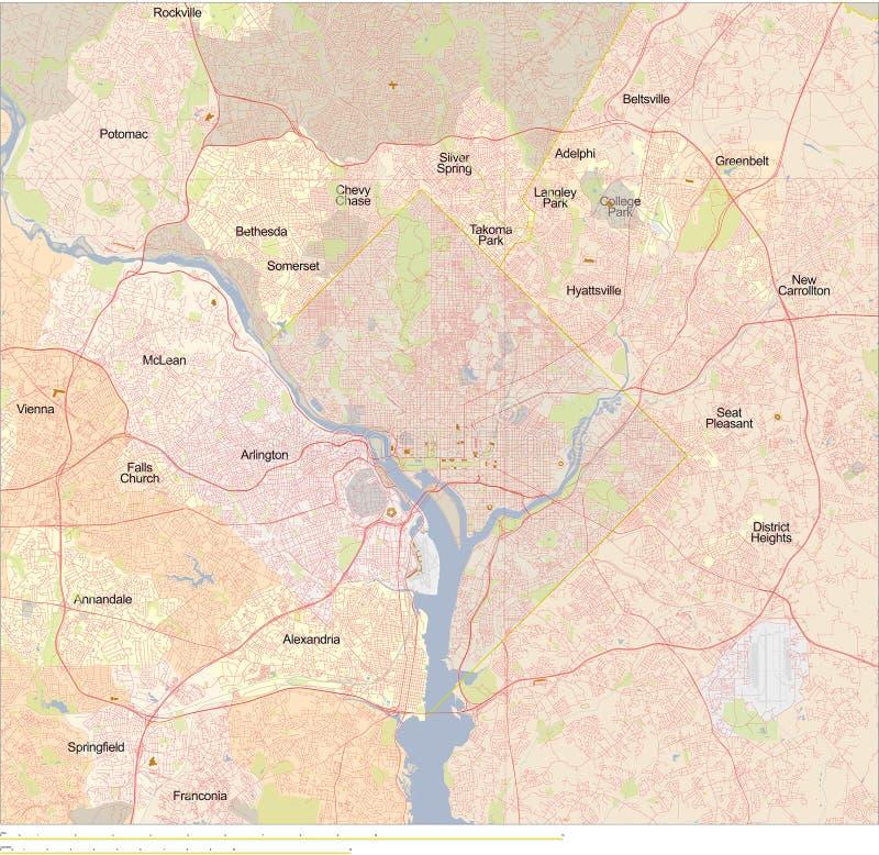 dc mapa Washington ilustracji